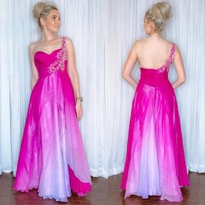Pink Ombré Flowy Pageant Prom Homecoming Dress